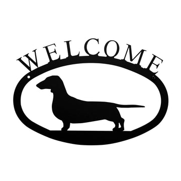 Wrought Iron Dachshund Dog Welcome Home Sign Small door signs outdoor signs welcome home sign