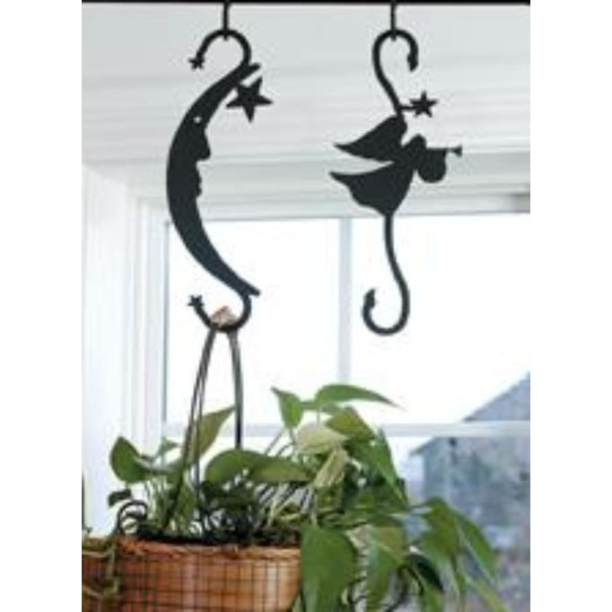 Wrought Iron Decorative Moon & Star S Hook garden hook hanging plant hooks plant hangers s hook