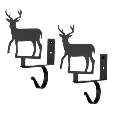 Wrought Iron Deer Curtain Curtain Rod & Shelf Brackets Set curtain rod shelf bracket featured