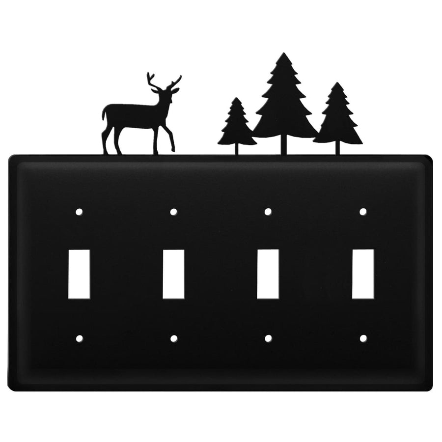 Wrought Iron Deer & Pine Quad Switch Cover light switch covers lightswitch covers outlet cover