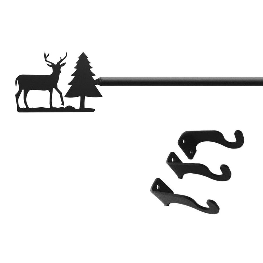 Wrought Iron Deer & Pine Tree Curtain Rod curtain poles curtain rails curtain rod dragonfly decor