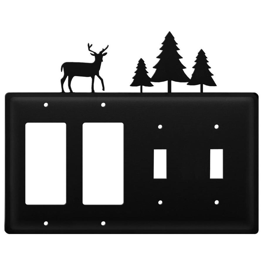 Wrought Iron Deer & Pine Trees Double GFCI Double Switch Cover light switch covers lightswitch