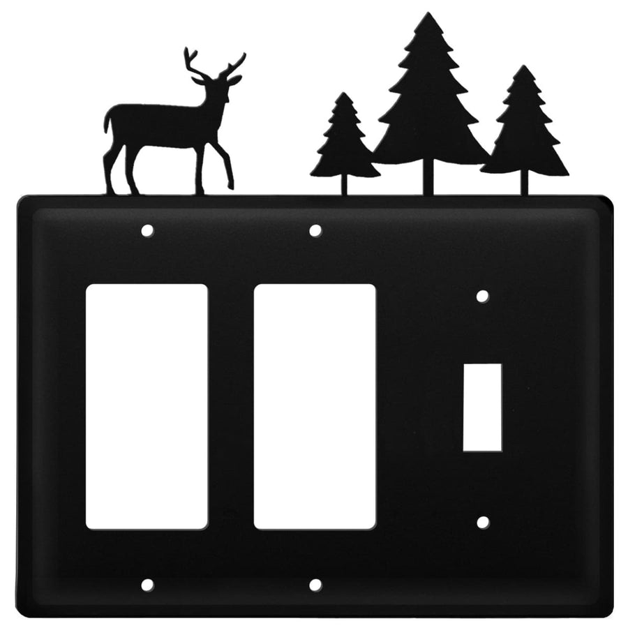 Wrought Iron Deer & Pine Trees Double GFCI Switch Cover light switch covers lightswitch covers