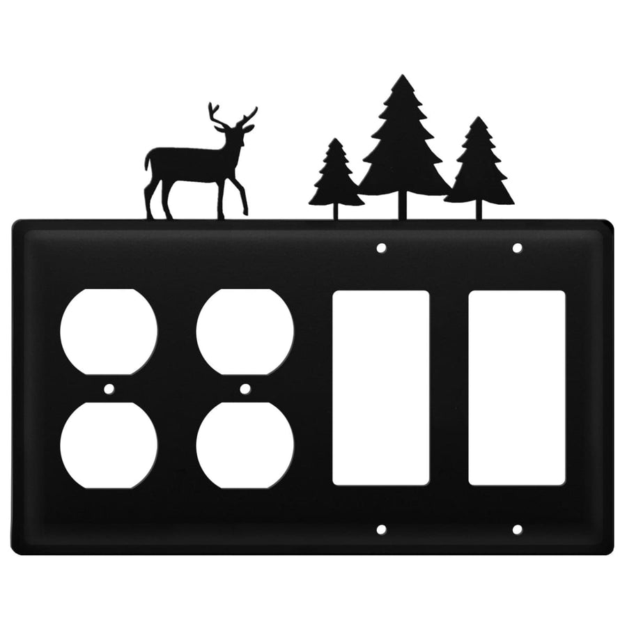 Wrought Iron Deer Pine Trees Double Outlet Double GFCI Cover light switch covers lightswitch covers