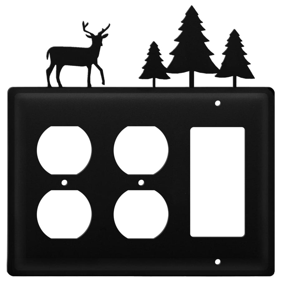 Wrought Iron Deer Pine Trees Double Outlet GFCI Cover light switch covers lightswitch covers outlet
