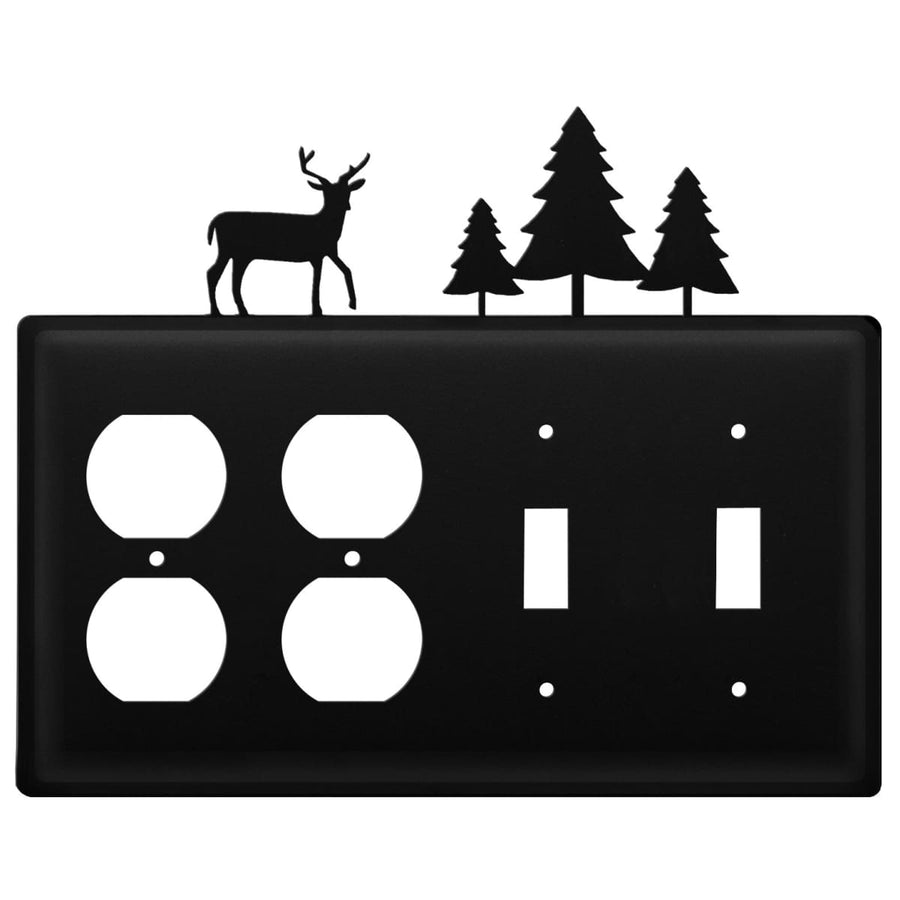 Wrought Iron Deer Pine Trees Double Outlet Double Switch Cover light switch covers lightswitch