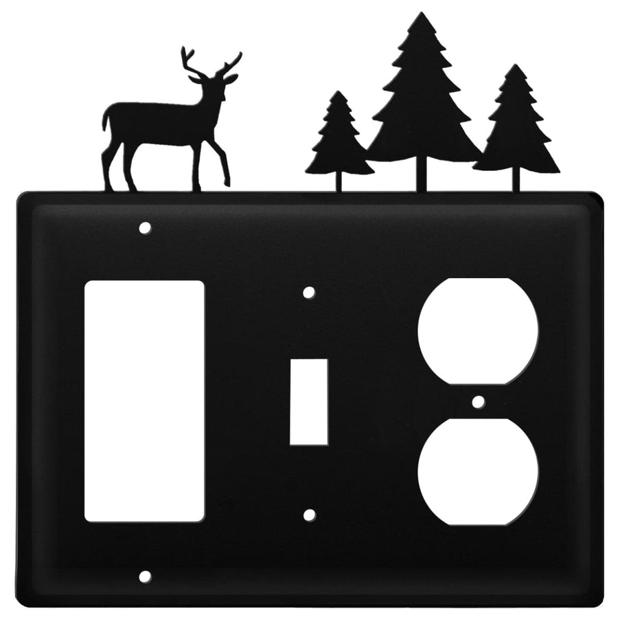 Wrought Iron Deer Pine Trees GFCI Switch Outlet Cover light switch covers lightswitch covers outlet