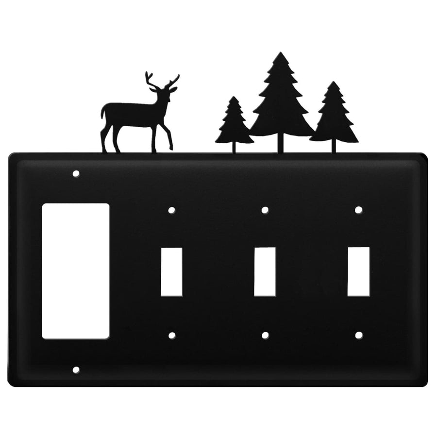 Wrought Iron Deer Pine Trees GFCI Triple Switch Cover light switch covers lightswitch covers outlet