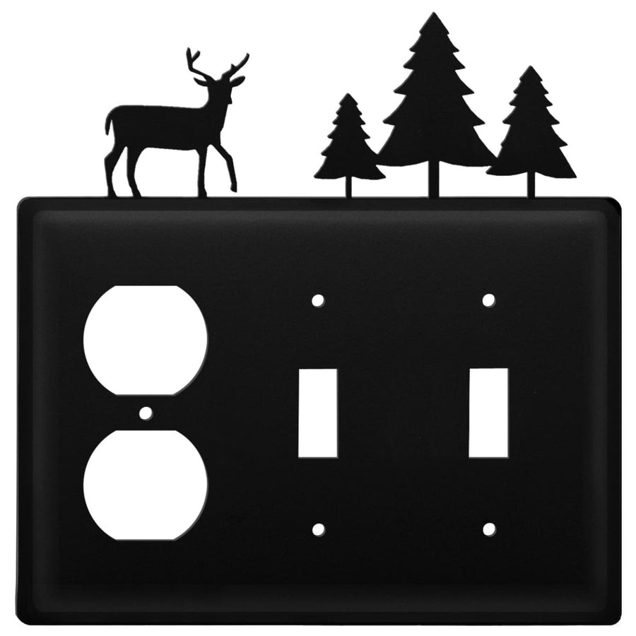 Wrought Iron Deer Pine Trees Outlet Double Switch Cover light switch covers lightswitch covers