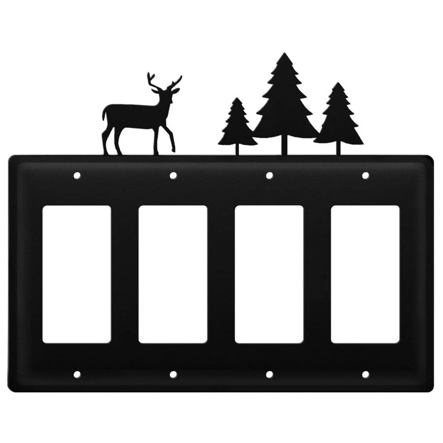 Wrought Iron Deer & Pine Trees Quad GFCI Cover light switch covers lightswitch covers outlet cover