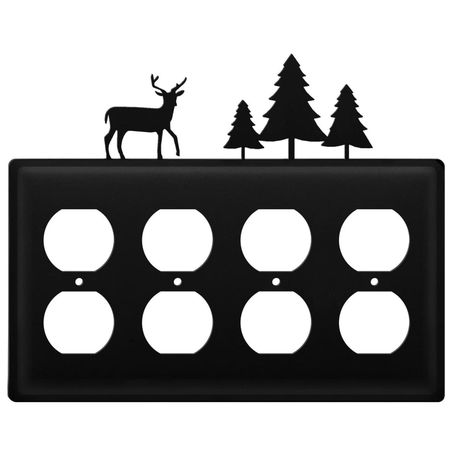 Wrought Iron Deer Pine Trees Quad Outlet Cover light switch covers lightswitch covers outlet cover