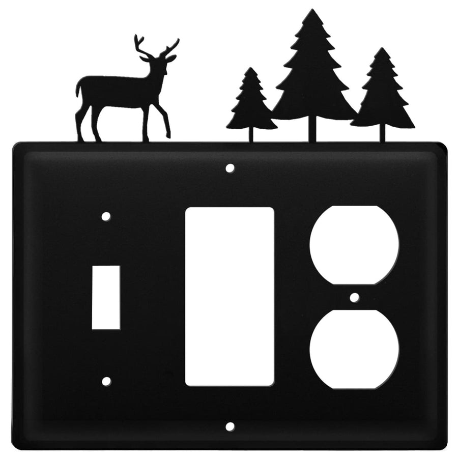 Wrought Iron Deer Pine Trees Switch GFCI Outlet Cover light switch covers lightswitch covers outlet