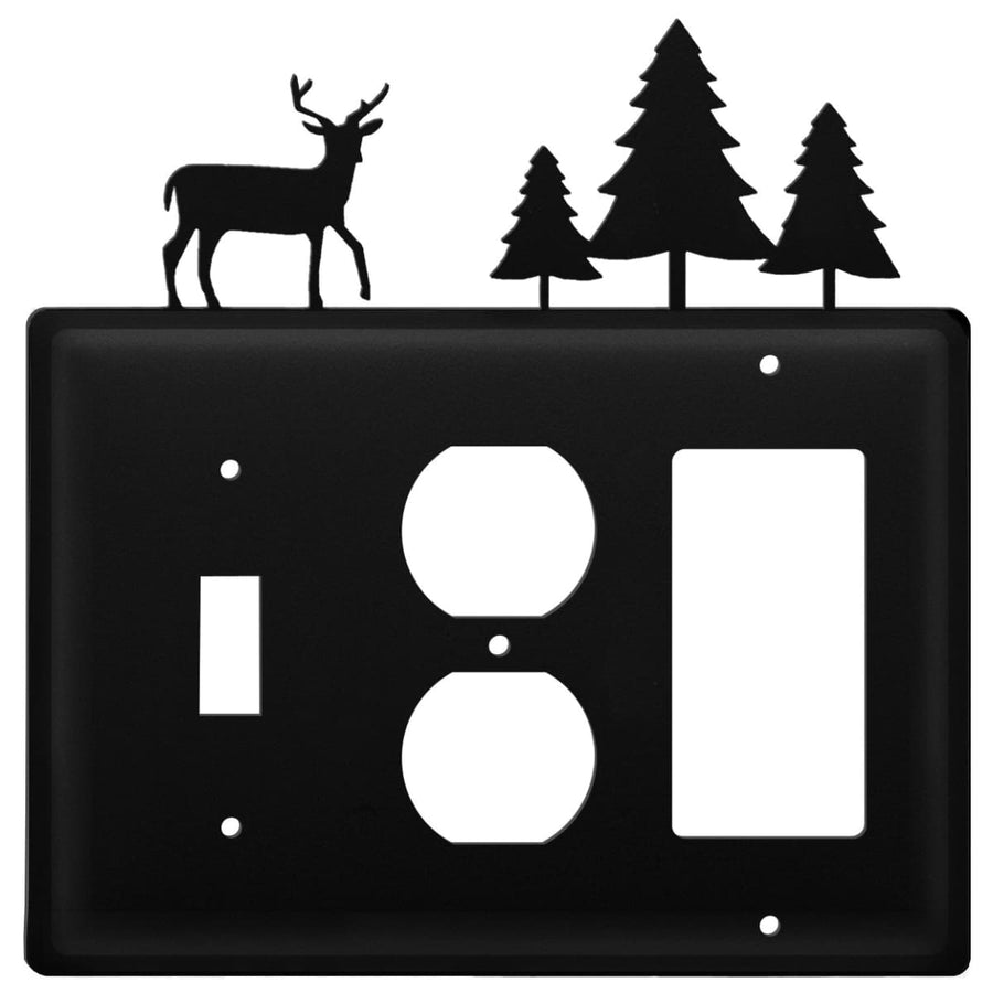 Wrought Iron Deer Pine Trees Switch Outlet GFCI Cover light switch covers lightswitch covers outlet