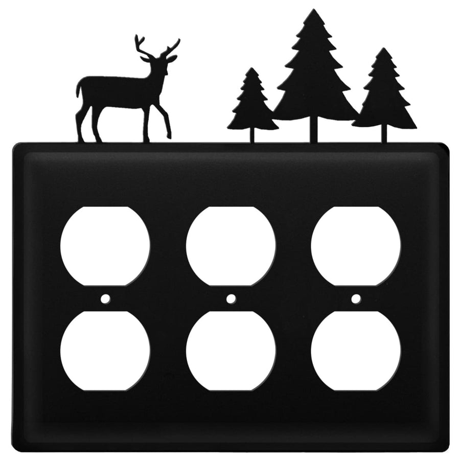 Wrought Iron Deer & Pine Trees Triple Outlet Cover light switch covers lightswitch covers outlet