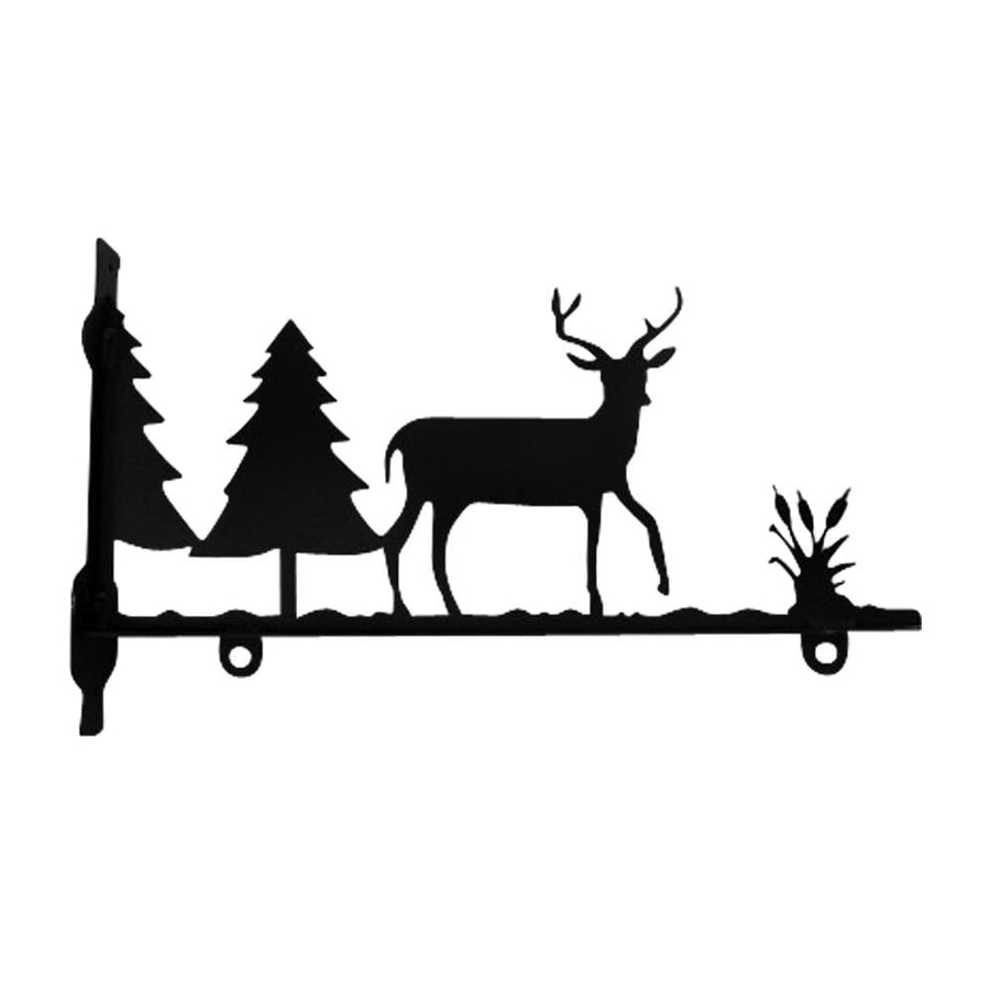 Wrought Iron Deer & Pines Sign Post Bracket 36in decorative posts metal sign post pole sign real