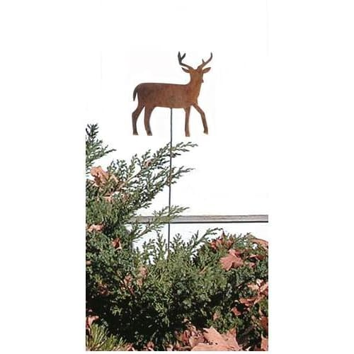 Wrought Iron Deer Rusted Garden Stake 35 In garden art garden decor garden ornaments garden stake
