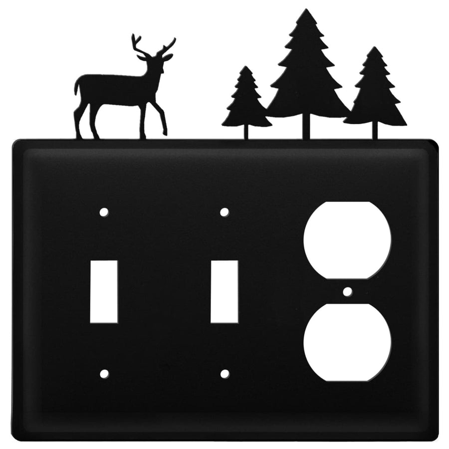 Wrought Iron Deer & Tree Double Switch Outlet Cover light switch covers lightswitch covers outlet