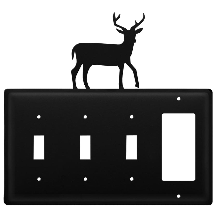 Wrought Iron Deer Triple Switch & GFCI new outlet cover Wrought Iron Deer Triple Switch & GFCI