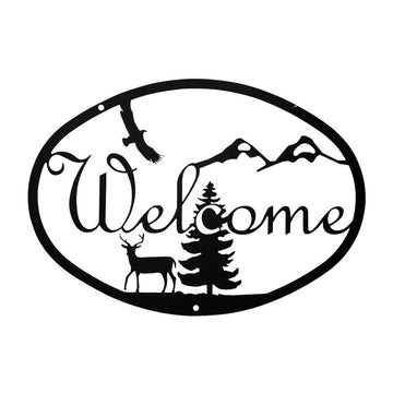 Wrought Iron Deer Welcome Home Sign Medium door signs outdoor signs welcome home sign welcome home
