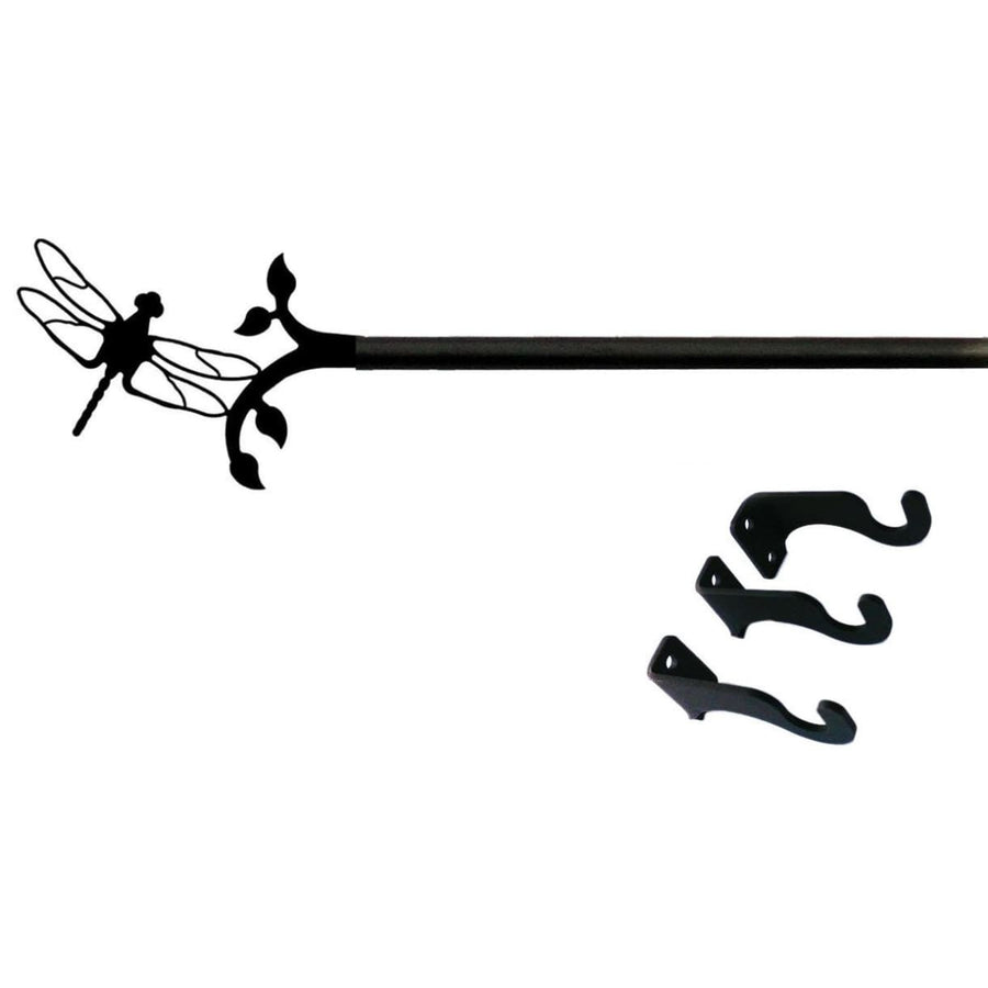 Wrought Iron Dragonfly Curtain Rod curtain poles curtain rails curtain rod dragonfly decor outdoor