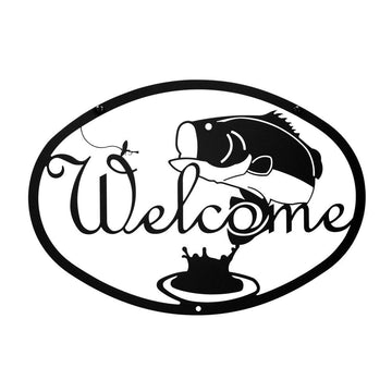 Wrought Iron Fishing Bass Welcome Home Sign Medium door signs outdoor signs welcome home sign