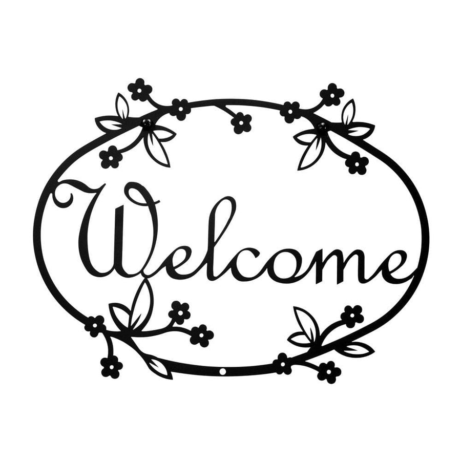 Wrought Iron Floral Welcome Home Sign Medium door signs outdoor signs welcome home sign welcome home