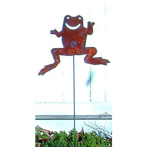 Wrought Iron Frog Rusted Garden Stake 35 Inches garden art garden decor garden ornaments garden