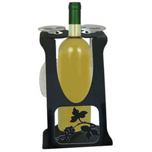 Wrought Iron Grapevine 2 Wine Glass Caddy wine bottle and glass holder wine bottle holder wine glass