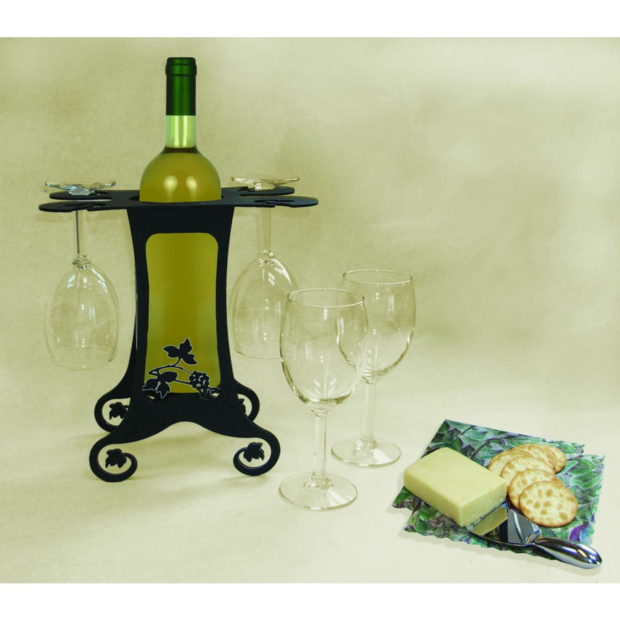 Wrought Iron Grapevine 4 Wine Glass Caddy wine bottle and glass holder wine bottle holder wine glass