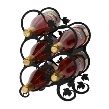 Wrought Iron Grapevine leaf Wine Rack 5 bottle wine bottle and glass holder wine bottle holder wine