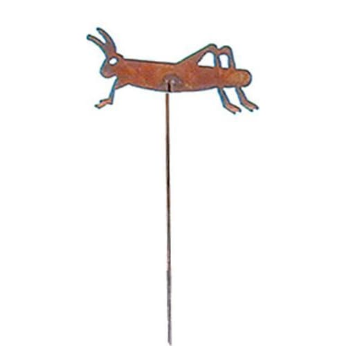 Wrought Iron Grasshopper Rusted Garden Stake 35 Inches garden art garden decor garden ornaments