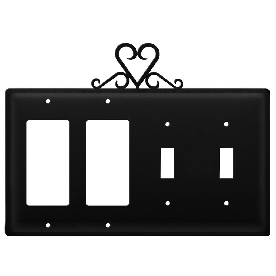 Wrought Iron Heart Double GFCI Double Switch Cover light switch covers lightswitch covers outlet