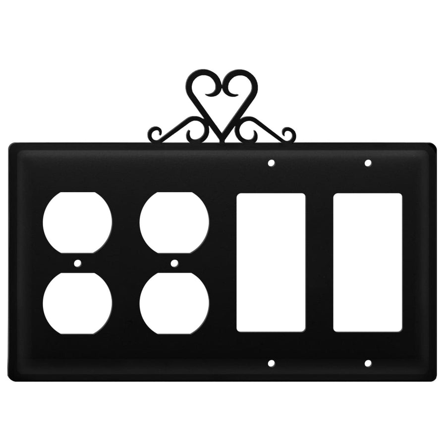 Wrought Iron Heart Double Outlet Double GFCI Cover light switch covers lightswitch covers outlet