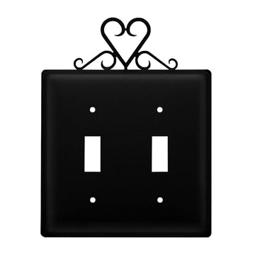 Wrought Iron Heart Double Switch Cover light switch covers lightswitch covers outlet cover switch