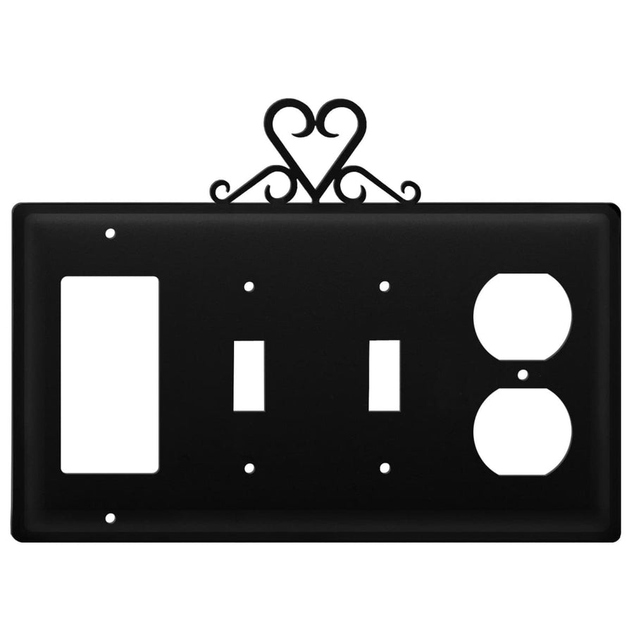 Wrought Iron Heart GFCI Double Switch Outlet Cover light switch covers lightswitch covers outlet