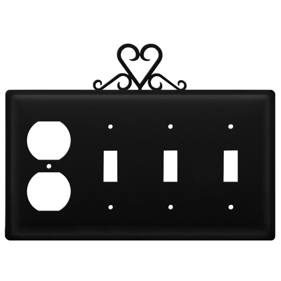 Wrought Iron Heart Outlet Triple Switch Cover light switch covers lightswitch covers outlet cover
