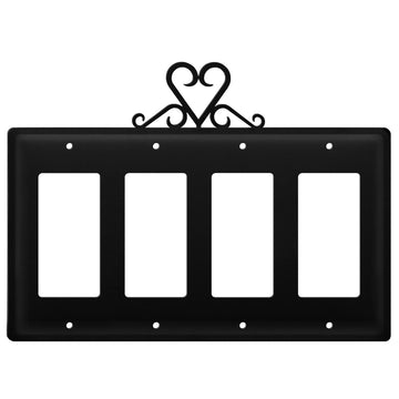 Wrought Iron Heart Quad GFCI Cover light switch covers lightswitch covers outlet cover switch covers