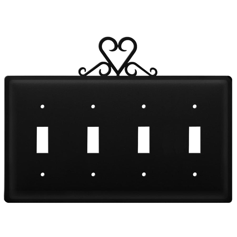 Wrought Iron Heart Quad Switch Cover light switch covers lightswitch covers outlet cover switch