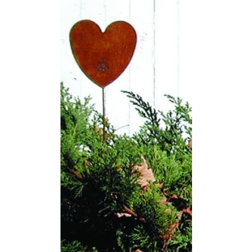 Wrought Iron Heart Rusted Garden Stake 35 Inches garden art garden decor garden ornaments garden