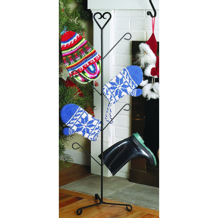 Wrought Iron Heart Top 4 Pair Mitten & Boot Dryer Stand boot rack boot stand Christmas decorations