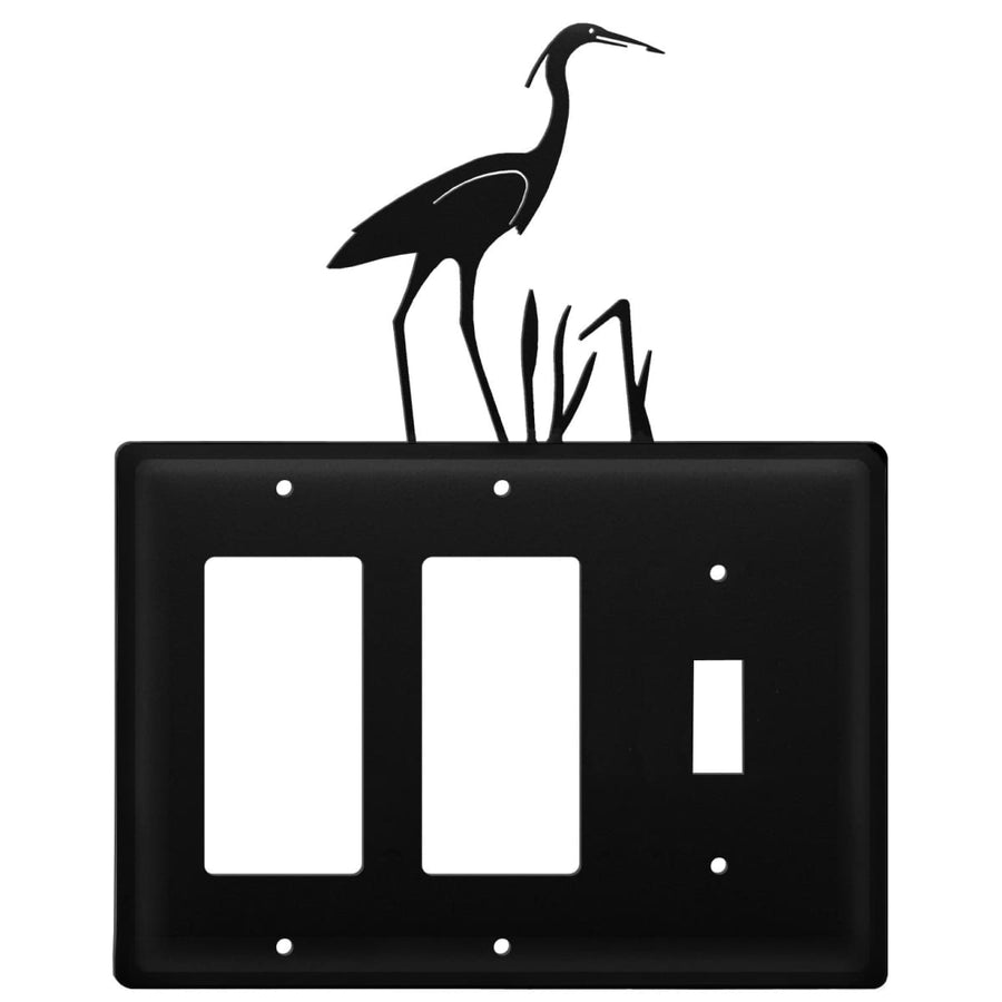 Wrought Iron Heron Double GFCI Switch Cover light switch covers lightswitch covers outlet cover