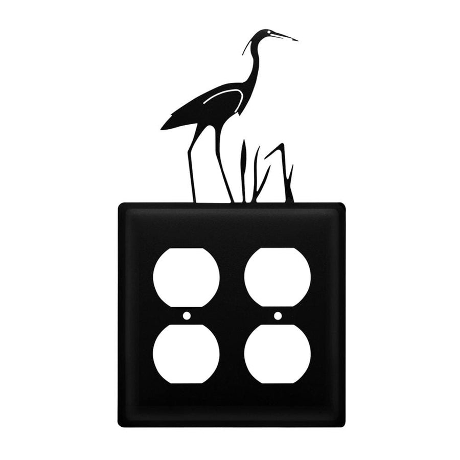 Wrought Iron Heron Double Outlet Cover light switch covers lightswitch covers outlet cover switch