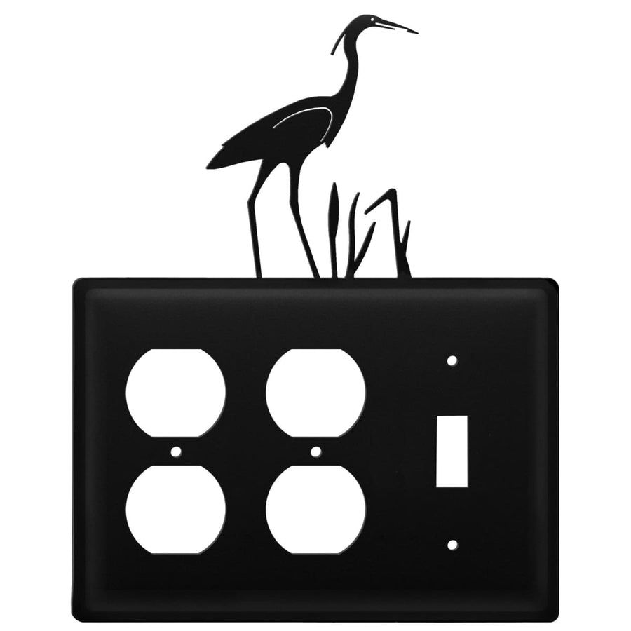 Wrought Iron Heron Double Outlet Switch Cover light switch covers lightswitch covers outlet cover