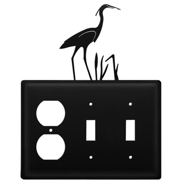 Wrought Iron Heron Outlet Double Switch Cover light switch covers lightswitch covers outlet cover