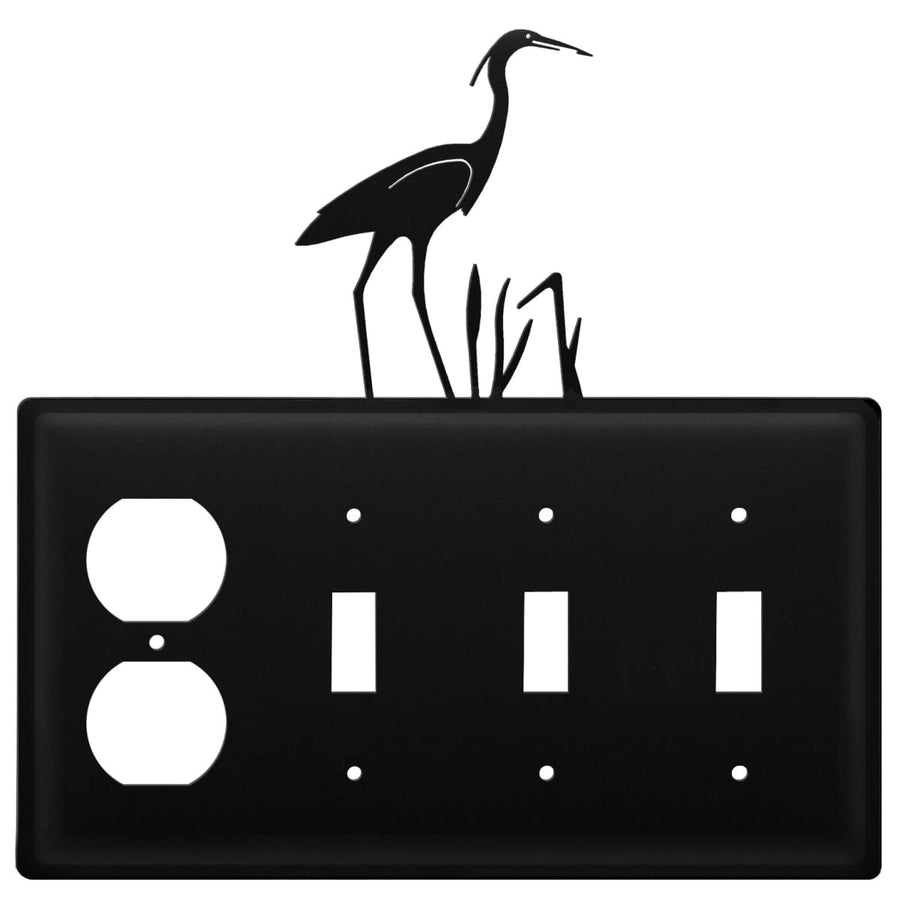 Wrought Iron Heron Outlet Triple Switch Cover light switch covers lightswitch covers outlet cover