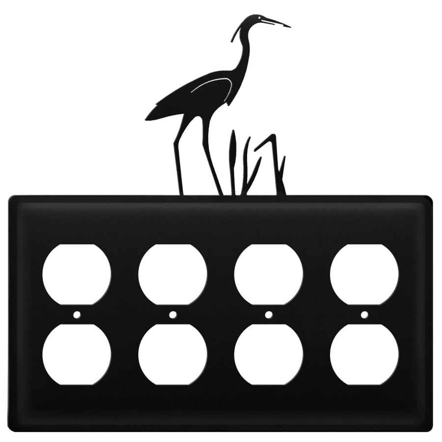 Wrought Iron Heron Quad Outlet Cover light switch covers lightswitch covers outlet cover switch