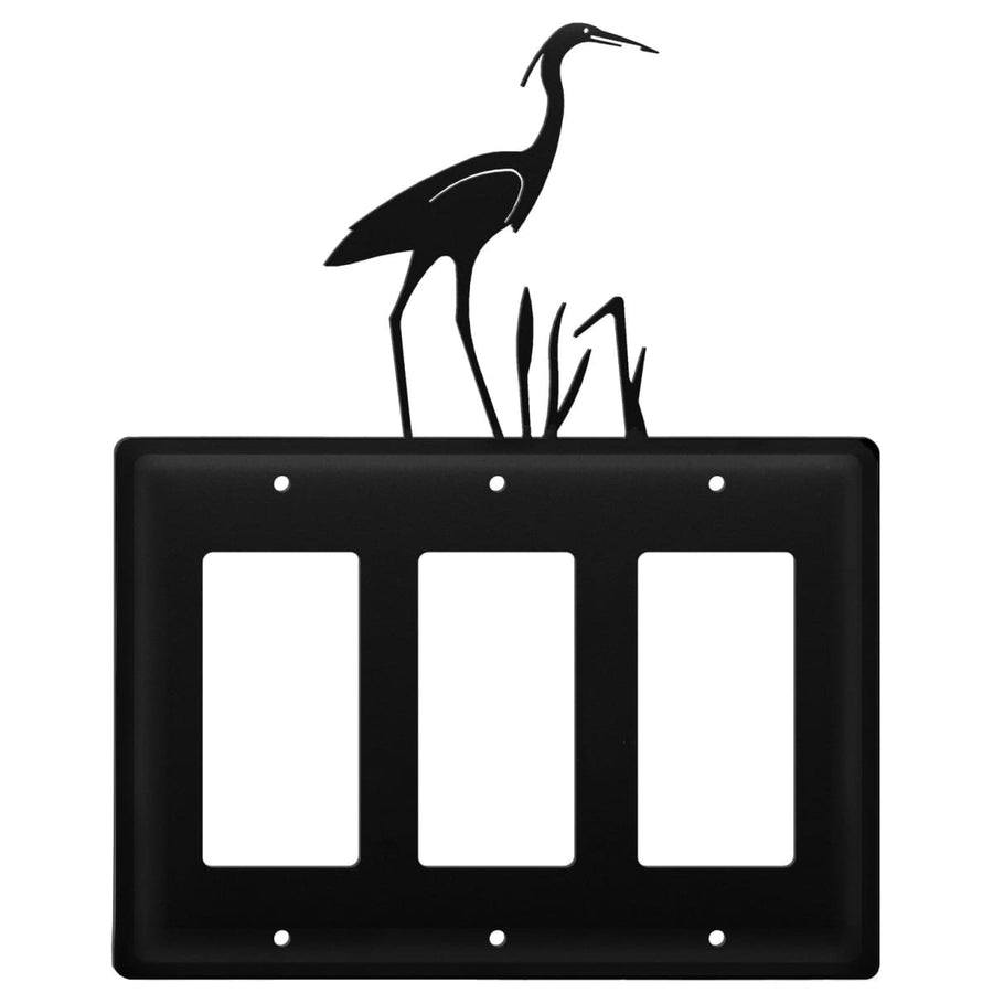 Wrought Iron Heron Triple GFCI Cover light switch covers lightswitch covers outlet cover switch