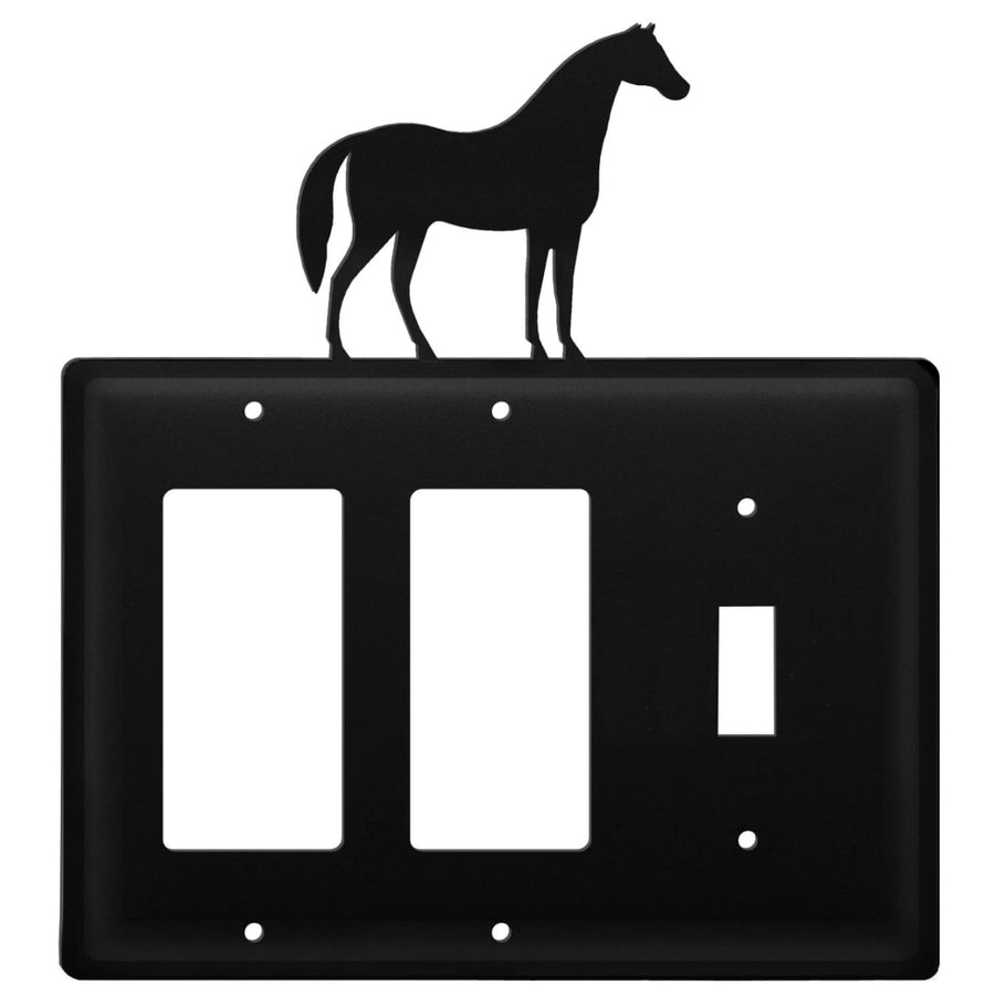 Wrought Iron Horse Double GFCI Switch Cover light switch covers lightswitch covers outlet cover