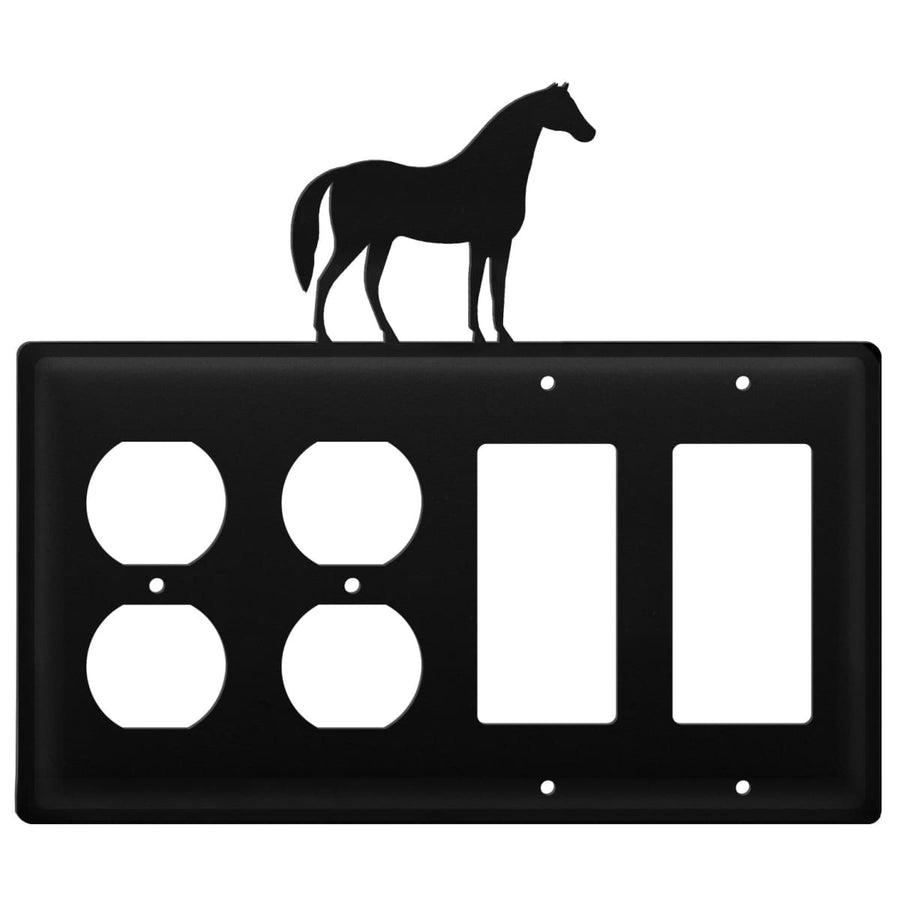 Wrought Iron Horse Double Outlet Double GFCI Cover light switch covers lightswitch covers outlet