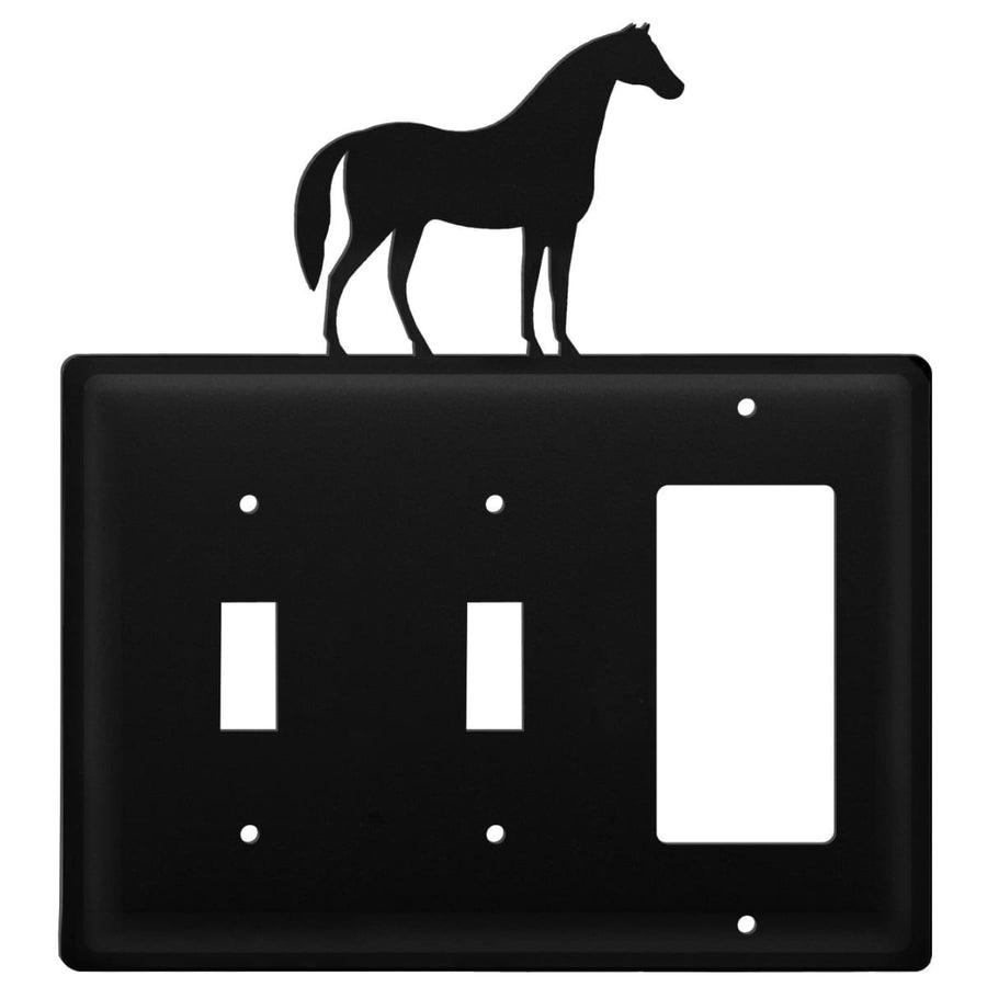 Wrought Iron Horse Double Switch & GFCI new outlet cover Wrought Iron Horse Double Switch & GFCI